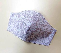 Rúška - Dizajnové bavlnené rúško (Bledoružové potlač biela čipka) - 12377878_