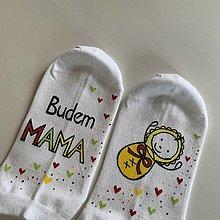 """Obuv - Maľované ponožky s nápisom: """"Budem MAMA"""" (S bábätkom) - 12376812_"""
