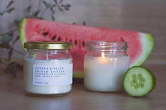 Svietidlá a sviečky - Sojova sviecka - Uhorka & Melon - 12375165_