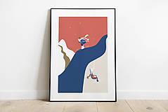 Grafika - Zimný print, lyžovačka - 12377701_