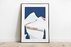 Grafika - Zimný print, cesta domov, plagát - 12377730_