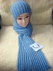 Čiapky - Ručne pletená čiapka so šálom /pán , dáma / - 12380945_