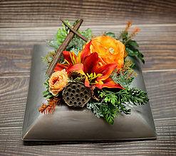 Dekorácie - Jesenná ikebana na hrob - 12382746_