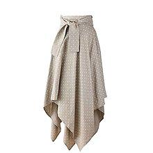 Sukne - LINA - ľanová asymetrická sukňa s výraznou viazačkou (Prírodná s bielymi bodkami) - 12382605_