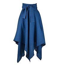 Sukne - LINA - ľanová asymetrická sukňa s výraznou viazačkou (Morská modrá) - 12382631_
