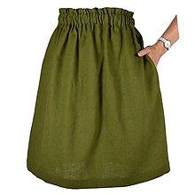 Sukne - TINA - ľanová sukňa s vreckami - 12382785_