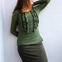 Svetre/Pulóvre - Zelený sveter mohér - 12381299_