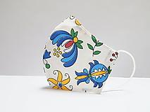 Rúška - Tvarované dvojvrstvové rúško - FAREBNÉ FOLK KVETY (cca 11 cm) - 12379176_