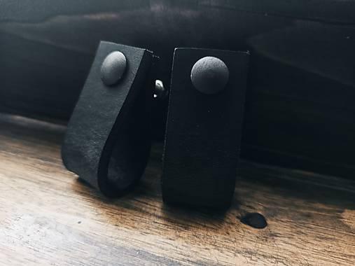 Kožené úchytky na nábytok - little black (14x2,5cm)