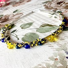 Ozdoby do vlasov - Navy Blue-Yellow Headband / Modro-žltá korálková čelenka - 12386095_