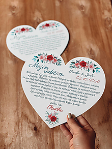 Darčeky pre svadobčanov - Poďakovanie rodičom 60 srdce ružičky - 12385565_