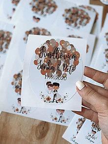 Papiernictvo - Nálepky na svadobné fľaše balónik - 12385736_