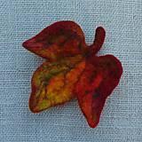 Odznaky/Brošne - ...plstená brošňa - jesenný list... - 12387383_