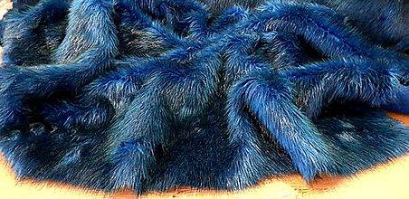 Textil - Umelá kožušina - tyrkysový melír - cena za 10 cm - 12383697_