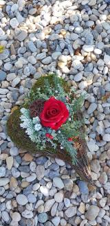 Dekorácie - Spomienkové srdce ruža - 12387181_