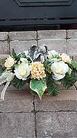 Dekorácie - väčšia zaťažená ikebana na hrob s anjelom 45  cm - 12386055_