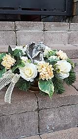 Dekorácie - väčšia zaťažená ikebana na hrob s anjelom 45  cm - 12386062_