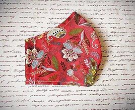 Rúška - 1 vrstvové rúško, elegantné, výrazne červené - 12383507_