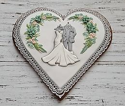 Dekorácie - Srdce pre novomanželov - 12386912_