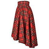 """- SCOTT - asymetrická sukňa """"škótske káro"""" (A1 - Červené káro) - 12384452_"""