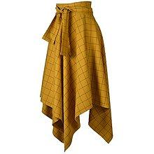 Sukne - NESSA - cípová károvaná zavinovacia sukňa s viazačkou (C1 - horčicové káro) - 12384622_
