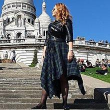 Sukne - NESSA - cípová károvaná zavinovacia sukňa s viazačkou (C2 - modrozelené káro väčšie) - 12384735_