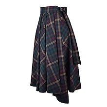 Sukne - ASTRID - áčková zavinovacia sukňa so skladmi a predným cípom (B2 - hnedé kockované) - 12385271_