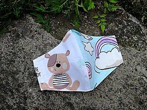 Rúška - Detské tvarované RÚŠKO s drôtikom - nové vzory II. (medvedík + dúha) - 12386501_