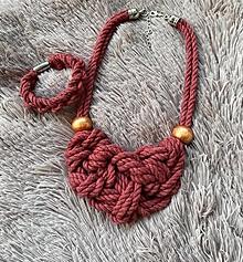 Sady šperkov - Růžový set - zamotaný náramek a náhrdelník - 12385504_
