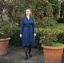 Šaty - lněné zavinovací šaty, tm.  modré - 12383889_