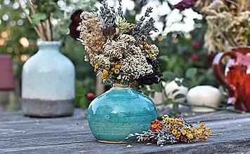 Dekorácie - Tyrkysová mini váza  - 12386734_
