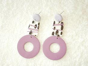 Náušnice - Náušnice z polyméru, fialové kruhy - 12384352_