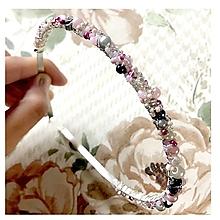Ozdoby do vlasov - Grey & Powder Pink Headband / Korálková čelenka - 12388788_