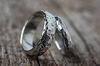 Prstene - Obrúčky životom tepané /polguľaté zo striebra/ - 12389699_