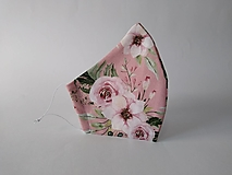Dizajnové rúško vintage rose s časticami striebra prémiové dvojvrstvové