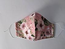 Rúška - VÝPREDAJ dámske dizajnové rúško prémiová bavlna antibakteriálne s časticami striebra dvojvrstvové tvarované - 12388017_