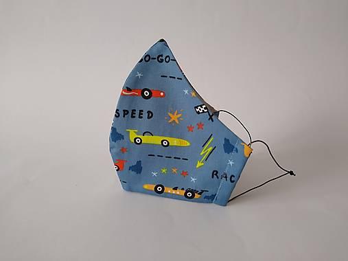 Dizajnové rúško formula modré tvarované dvojvrstvové