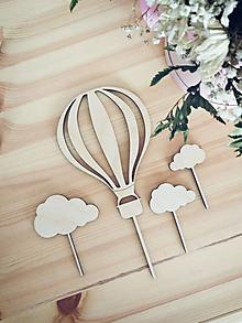 Dekorácie - Set zápichov na tortu - balón s obláčikmi - 12387609_