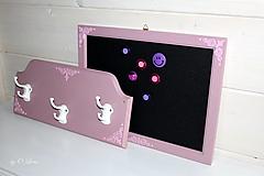 Nábytok - Sada vešiak a magnetická tabuľa - Ružová - 12388374_