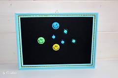 Tabuľky - Sada vešiak a magnetická tabuľa - Tyrkys a zlatá - 12388417_
