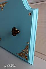 Tabuľky - Sada vešiak a magnetická tabuľa - Tyrkys a zlatá - 12388420_