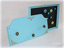 Tabuľky - Sada vešiak a magnetická tabuľa - Tyrkys a zlatá - 12388421_