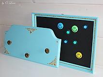 Tabuľky - Sada vešiak a magnetická tabuľa - Tyrkys a zlatá - 12388422_