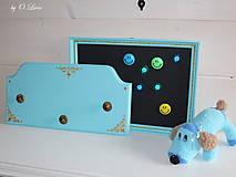 Tabuľky - Sada vešiak a magnetická tabuľa - Tyrkys a zlatá - 12388423_