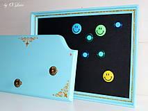 Tabuľky - Sada vešiak a magnetická tabuľa - Tyrkys a zlatá - 12388424_
