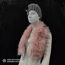 Textil - Kožušinový golier - 90 cm (Ružová) - 12391492_