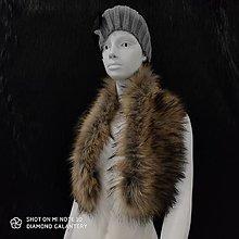 Textil - Kožušinový golier - 90 cm (Hnedý s melírom) - 12391496_