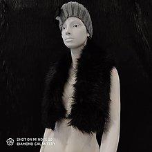 Textil - Kožušinový golier - 90 cm (Čierna) - 12391499_