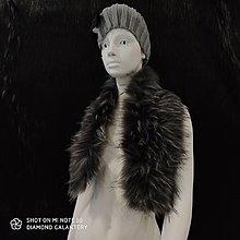 Textil - Kožušinový golier - 90 cm (Čierno šedý melírový) - 12391507_