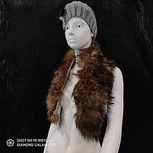 Textil - Kožušinový golier - 90 cm (Hnedo čierny melírový) - 12391511_